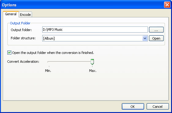 Specify output folder, output format and audio parameters for converting audio files