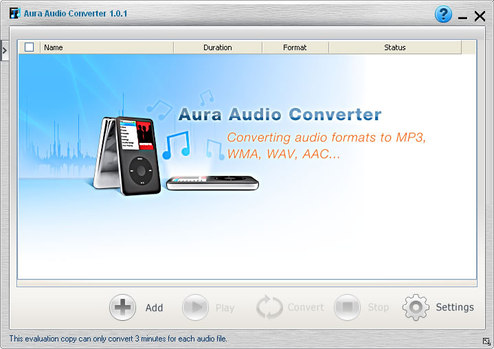 Software screenshots of the audio converter