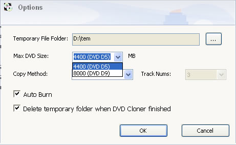 Select options for burn DVD backups
