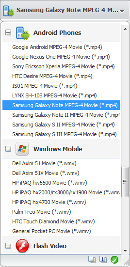 Convert videos for Samsung Galaxy Note