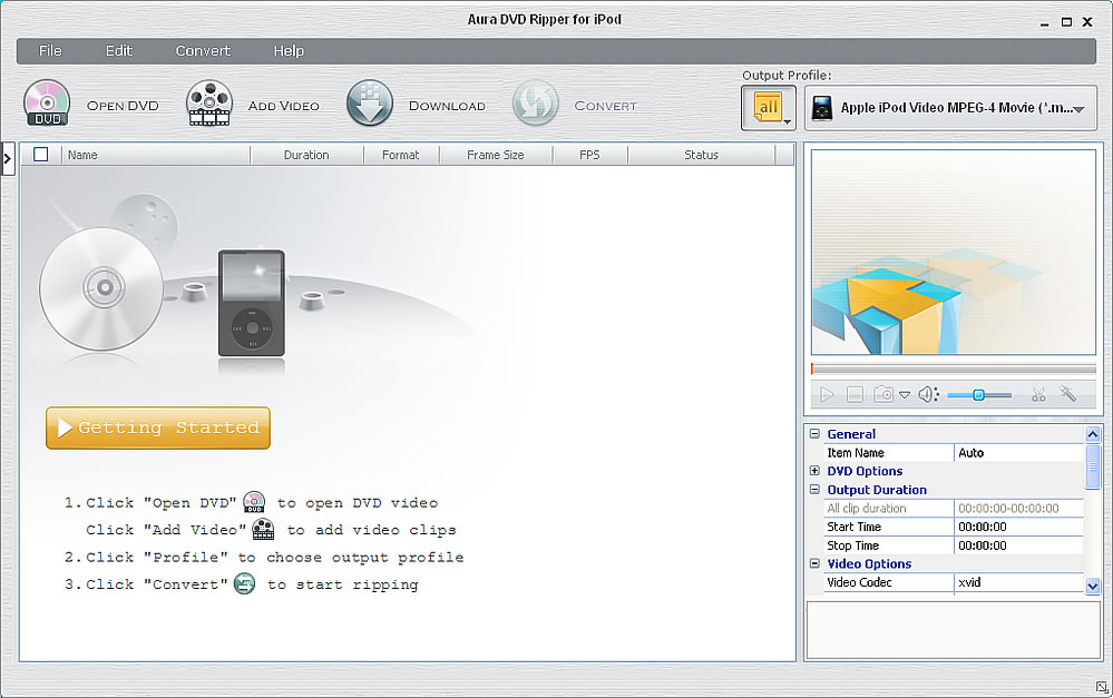 Software screenshot of Aura DVD Ripper for iPod