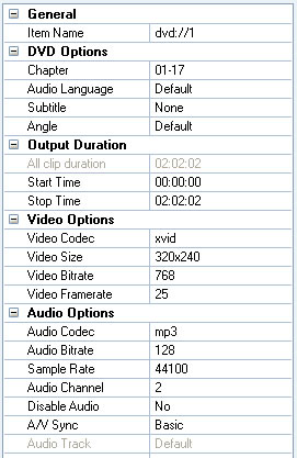 Modify parameters for output videos