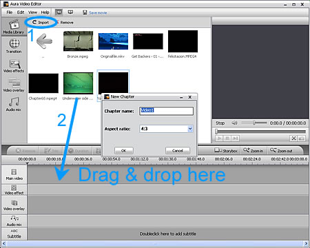 Add MPEG2 video files to Aura Video Editor
