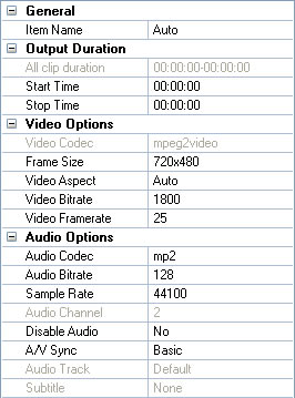 Modify parameters for ipad output videos