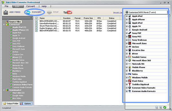 convert YouTube videos with Aura Video Converter