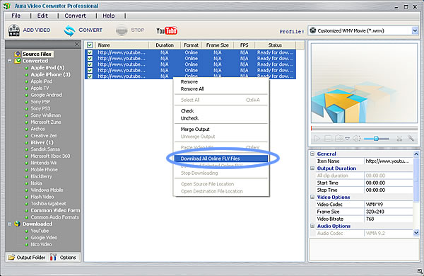Download YouTube videos using the YouTube to Zune player Converter