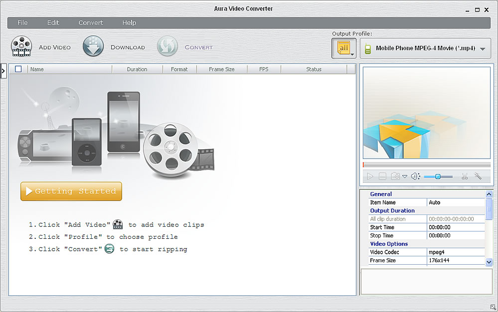 Program screenshot of the video converter freeware