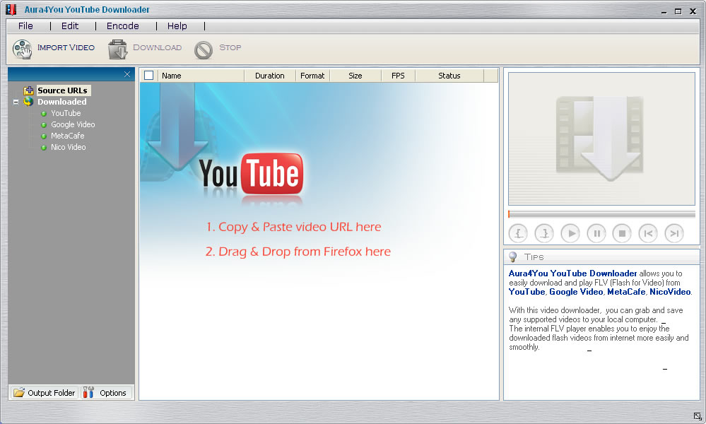 Main window of the freeware YouTube download program